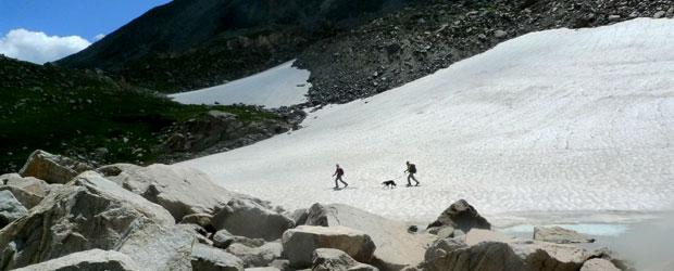Trekking across Isabelle Glacier